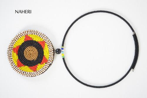 African beaded pendant neck piece maasai jewelry naheri