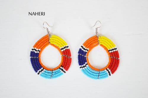 African beaded hoop earrings round naheri jewelry
