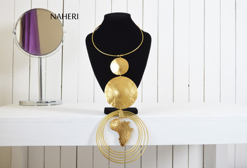 African metal necklace brass map handmade jewelry naheri