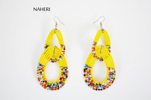 African beaded maasai double hoop earrings yellow