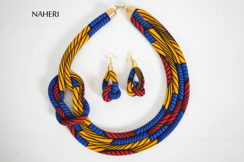 African prints rope necklace tribal handmade fabric neck piece