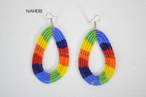 African handmade beaded hoop earrings rainbow naheri