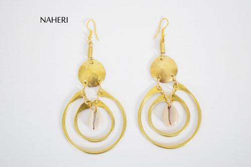 African brass earrings cowrie shell handmade jewelry naheri