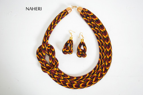 African rope necklace tribal print handmade fabric jewelry naheri