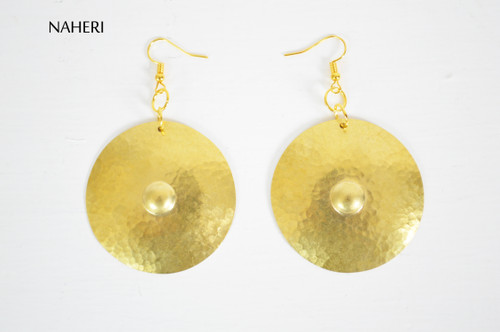 Hammered round brass earrings African inspired jewelry naheri