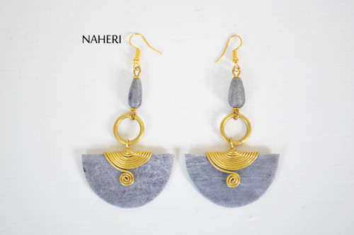 African inspired bone earrings grey brass wire jewelry naheri