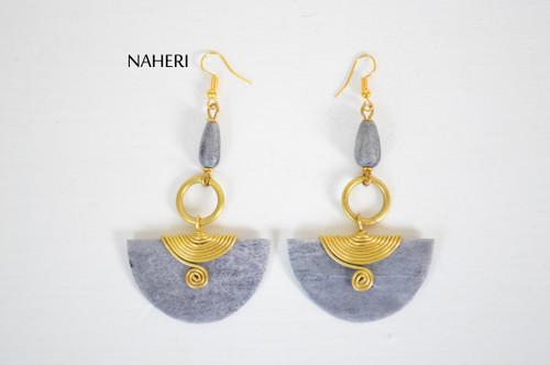 African inspired bone earrings grey brass wire jewelry naheri