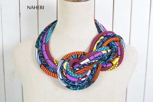 African print rope necklace tribal handmade fabric knot jewelry naheri