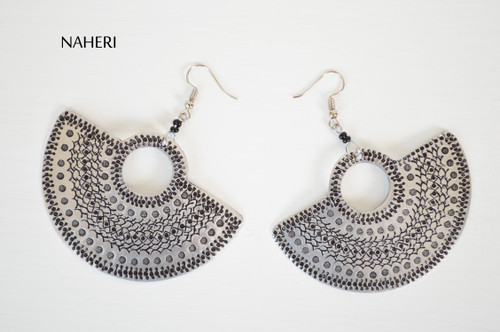 African basket shape earrings boho style silver jewelry naheri