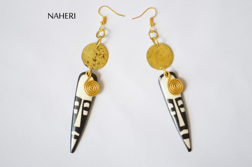 African inspired bone brass earrings mask face jewelry naheri