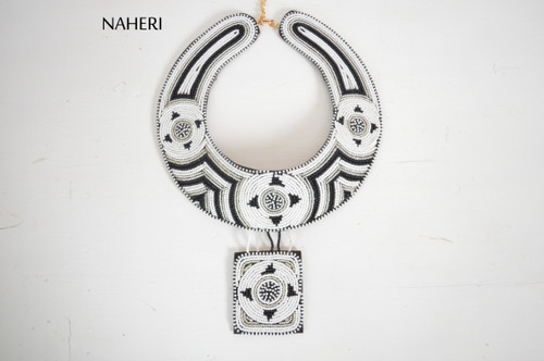 African beaded collar necklace white jewelry naheri