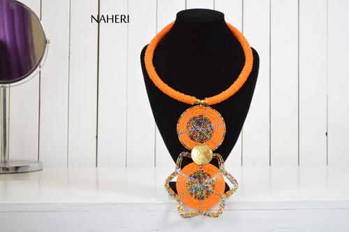 African beaded tribal pendant necklace orange jewelry naheri
