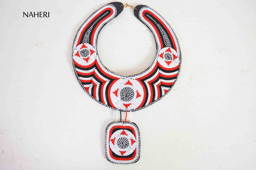 African beaded collar necklace white tribal jewelry naheri