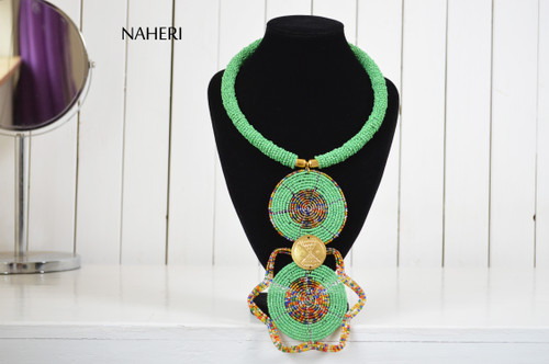 African jewelry beaded tribal pendant necklace green naheri