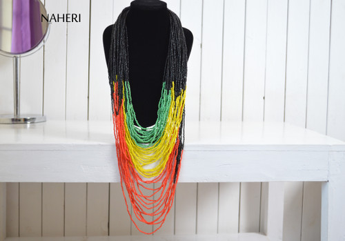 African beaded rasta colors necklace naheri jewelry