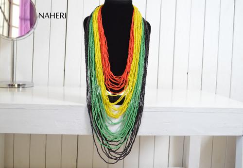 African beaded jewelry rasta colors necklace naheri