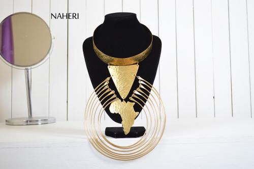 Brass metal necklace African map handmade jewelry naheri