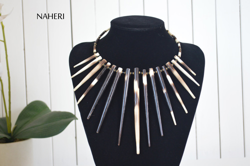 African quill neck piece tribal jewelry naheri