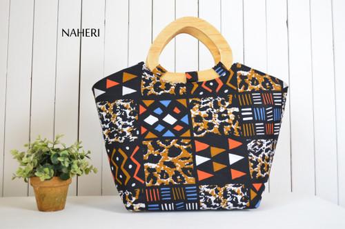 African tribal animal print handbag D handles African accessories naheri
