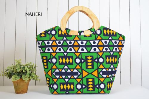 African tribal print handbag D handles green bag naheri
