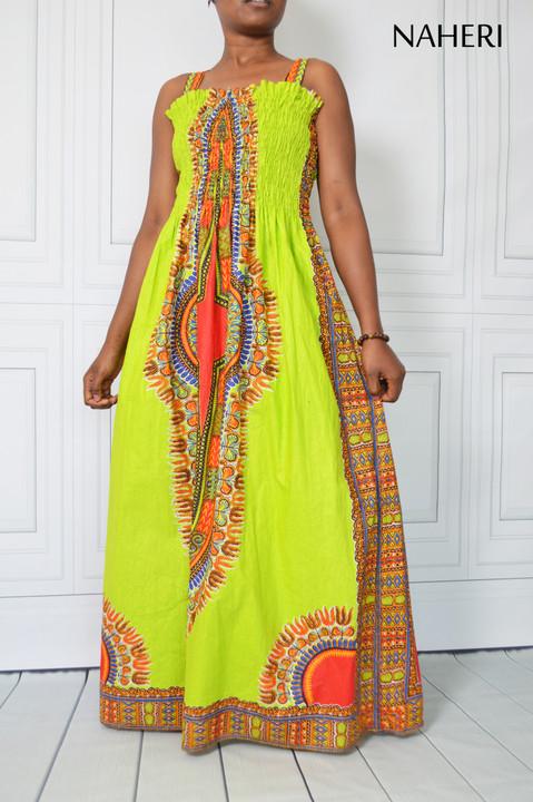 African print maxi dress - NANA dashiki summer dress lime green naheri