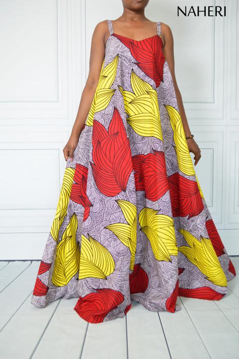 African print maxi dress - SIDI flared floral dress naheri