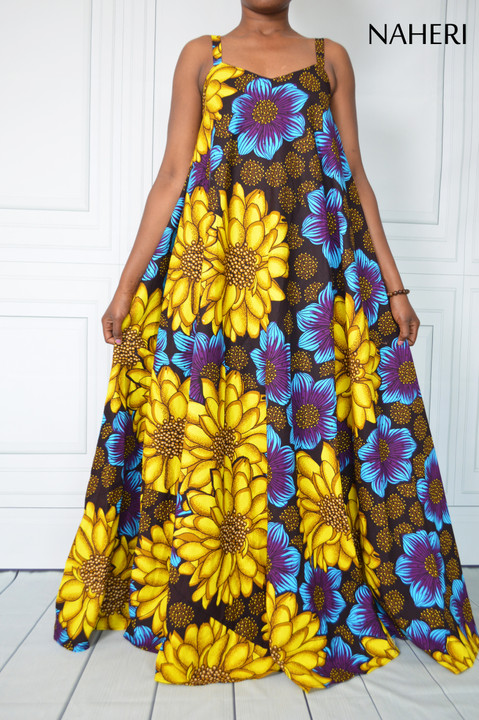 African print maxi dress - SIDI flared floral summer dress naheri