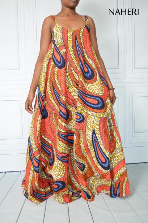 African print maxi dress - SIDI flared paisley summer dress naheri