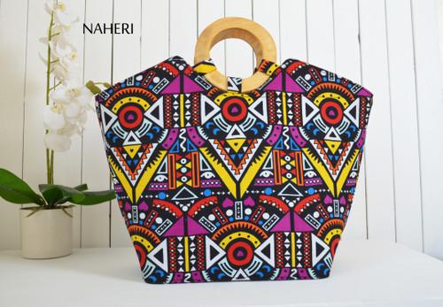 African print hand bag tribal round handles naheri