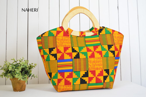 African tribal kente print hand bag D handles naheri