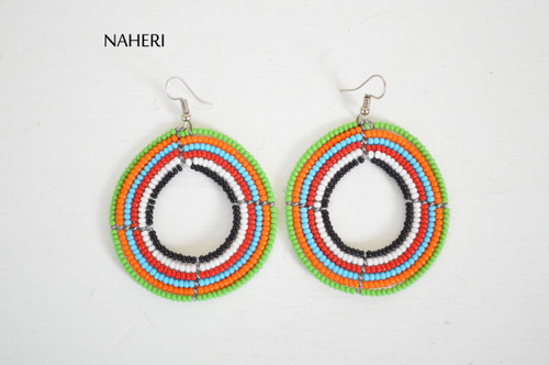 African maasai beaded round earrings jewelry by naheri