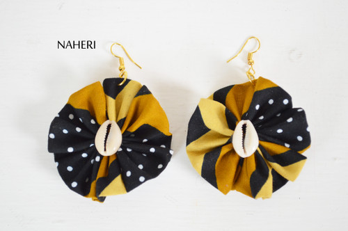 African print fabric earrings round with shell tribal jewelry by naheri