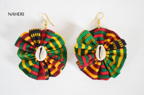 African kente print fabric earrings round with shell tribal jewelry by naheri