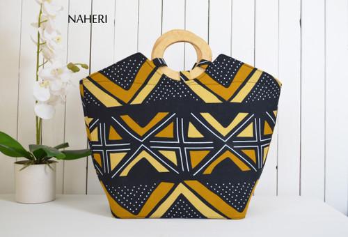 African round wooden handles handbag mud cloth print naheri
