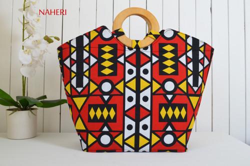 African round wooden handles handbag tribal print red bags by naheri