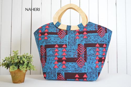 African tribal print handbag D handles blue and pink arrows naheri