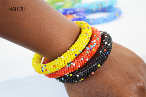 African bracelets sprinkled color bangles statement jewelry naheri