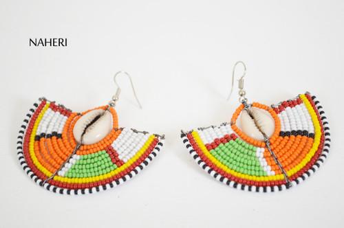African maasai beaded earrings fan shape tribal jewelry naheri
