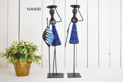 African inspired candle holders royal blue home decor Naheri