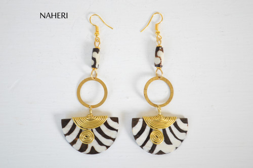 African brass and bone earrings zebra print jewelry naheri