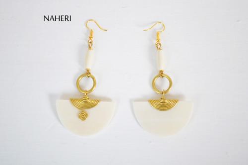 African brass and bone earrings white jewelry NAHERI