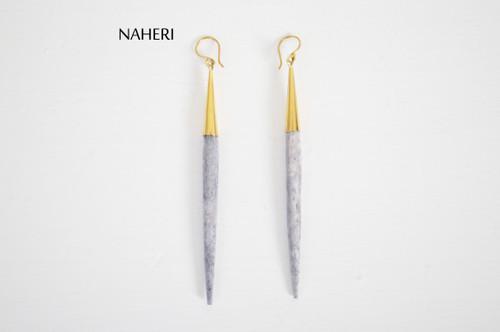 African straight brass and bone grey earrings naheri