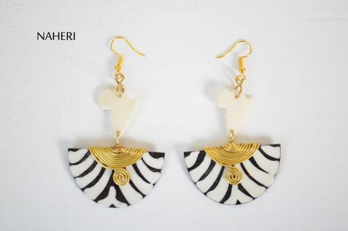 African map earrings zebra print bone jewelry naheri