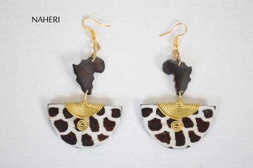 African map earrings giraffe print bone jewelry naheri