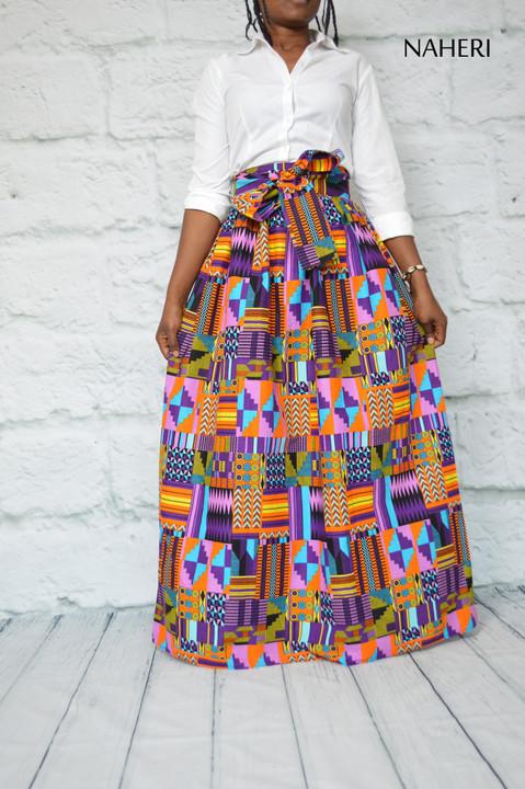 African print maxi skirt kente cotton African fashion naheri