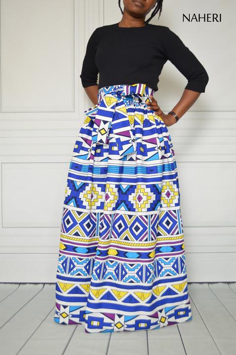 African print skirt MIMI white tribal print maxi skirt naheri