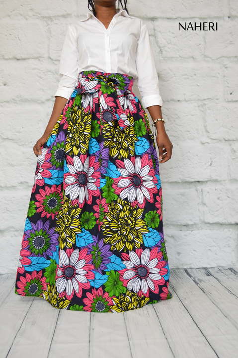 African print skirt - MIMI floral maxi skirt clothes by naheri