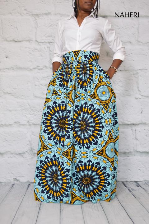 African maxi print skirt - MIMI circular print skirt tribal fashion naheri