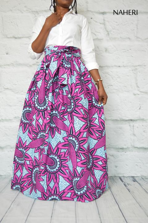 African print skirt - MIMI purple flower maxi skirt naheri clothing