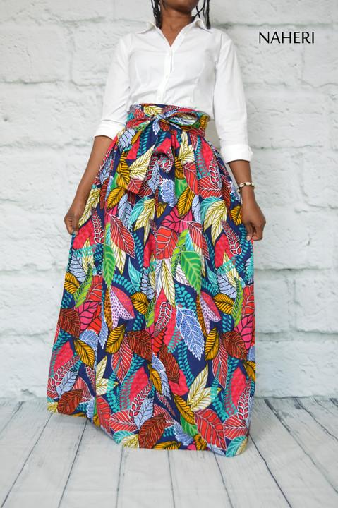 African print skirt - MIMI leaf print maxi skirt naheri clothing